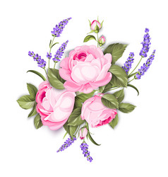 blooming spring flowers garland purple roses vector image