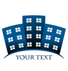 blue symbol of buildings and space for your text vector image
