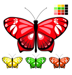 butterfly set 10 vector image