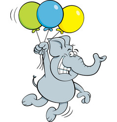 cartoon elephant holding balloons vector image