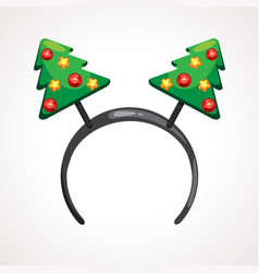 cartoon headband icon with christmas tree shape vector image
