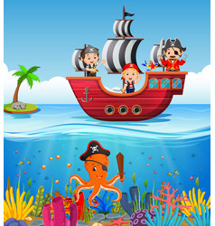 Children on pirate ship and ocean scene vector