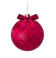 christmas ball with ball and ribbon on white vector image