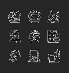 Cleaning chores chalk white icons set on black vector