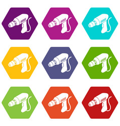 corded drill icons set 9 vector image