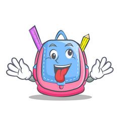 crazy school bag character cartoon vector image