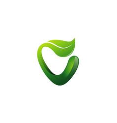 creative green v letter leaf symbol logo vector image