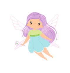 Cute little winged fairy with long lilac hair vector