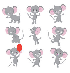 cute mouse cartoon mice in house isolated vector image