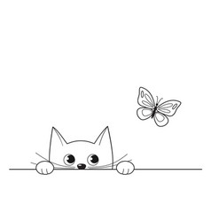 cute peeking kitten watching a butterfly vector image
