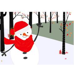 Cute snowman merry christmas card vector
