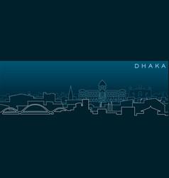 dhaka multiple lines skyline and landmarks vector image