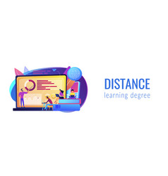 Distance learning concept banner header vector