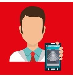 Doctor smartphone medical service vector