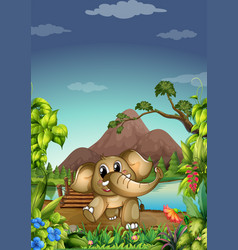 elephant in forest vector image
