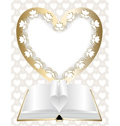 Festive background with frame in shape of heart vector image