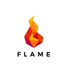 Fire flame geometric polygonal logo icon vector