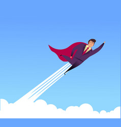 flat flying business heroes man superhero vector image