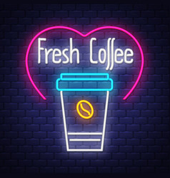 fresh coffee- neon sign on brick wall background vector image