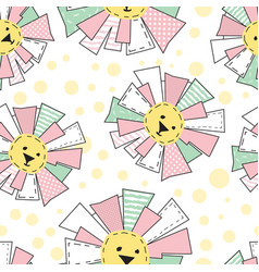 Funny sun in patchwork style pattern vector