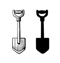 garden short shovel isketch style and silhouette vector image