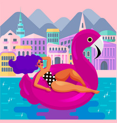 glamorous woman in flamingo swimming circle vector image
