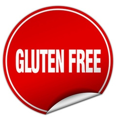 Gluten free round red sticker isolated on white vector