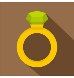 Gold ring with green gem icon flat style vector image