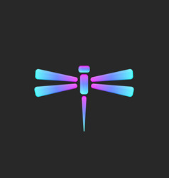 gradient exotic dragonfly logo blue and pink blend vector image