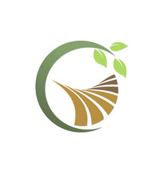 Green leaf landscape farm logo vector