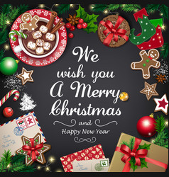 greeting card with big christmas collection vector image