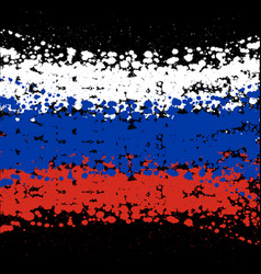 grunge blots russia flag background vector image