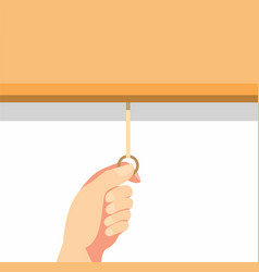 Hand pulling roller curtain or projector screen in vector