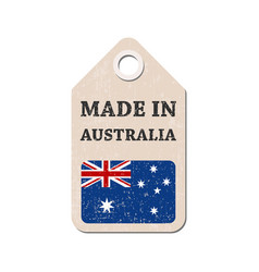Hang tag made in australia with flag vector
