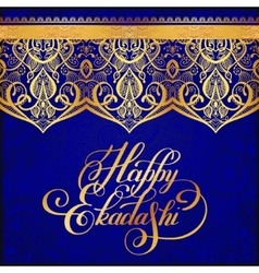 Happy ekadashi lettering inscription on luxury vector
