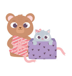 happy valentines day bear with gift and little vector image