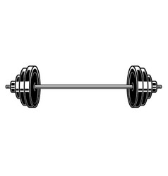 heavy athletic barbell in engraving style design vector image