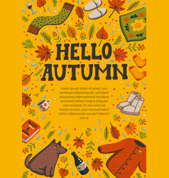 Hello autumn yellow greeting card banner template vector