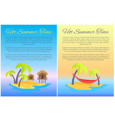 hot summer time posters set vector image