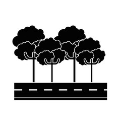 Isolated tree on highway cartoon vector