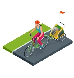 Isometric Bicycle with Kids Bike Trailer vector