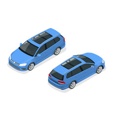 Isometric car blue hatchback 5-door icon car vector