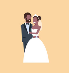 just married man woman embracing standing together vector image