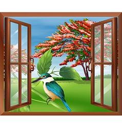 Kingfisher in window vector