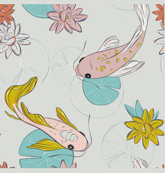 koi fish oriental pattern summer fish tender rose vector image