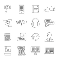 Learning foreign languages icons set outline style vector