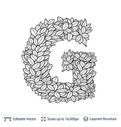 letter g symbol of white leaves vector image