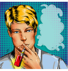 man smoking e-cigarette vape pop rt comic style vector image