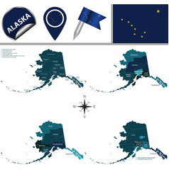 Map of alaska with regions vector