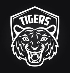 mascot of white tiger head on shield background vector image